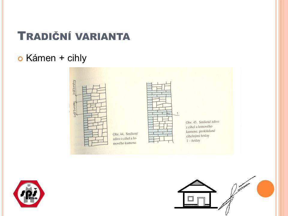 K ÁMEN + CIHLA Kombinaci lze aplikovat jako architektonický záměr