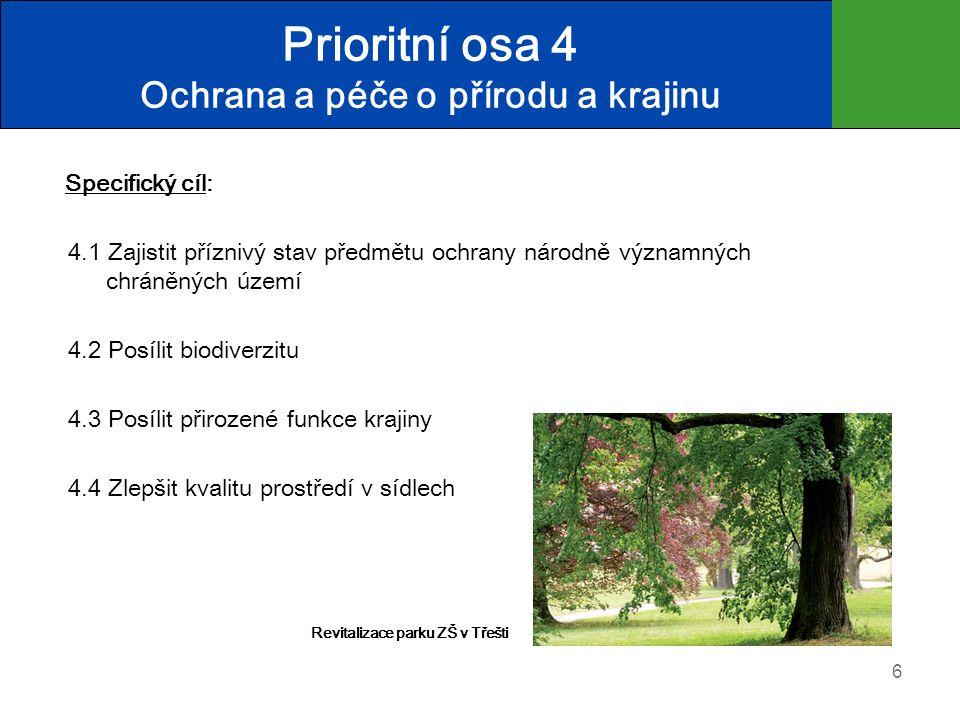 Prioritní osa 4 Ochrana a péče o přírodu a krajinu Specifický cíl: 4.1 Zajistit příznivý stav předmětu ochrany národně významných chráněných území 4.2 Posílit biodiverzitu 4.3 Posílit přirozené funkce krajiny 4.4 Zlepšit kvalitu prostředí v sídlech 6 Revitalizace parku ZŠ v Třešti