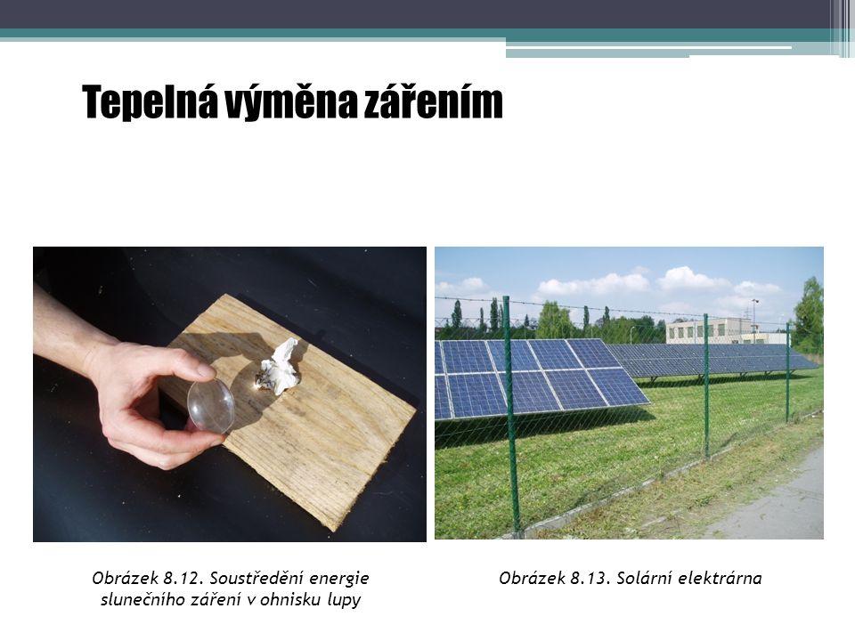 Obrázek 8.12. Soustředění energie slunečního záření v ohnisku lupy Obrázek 8.13. Solární elektrárna Tepelná výměna zářením