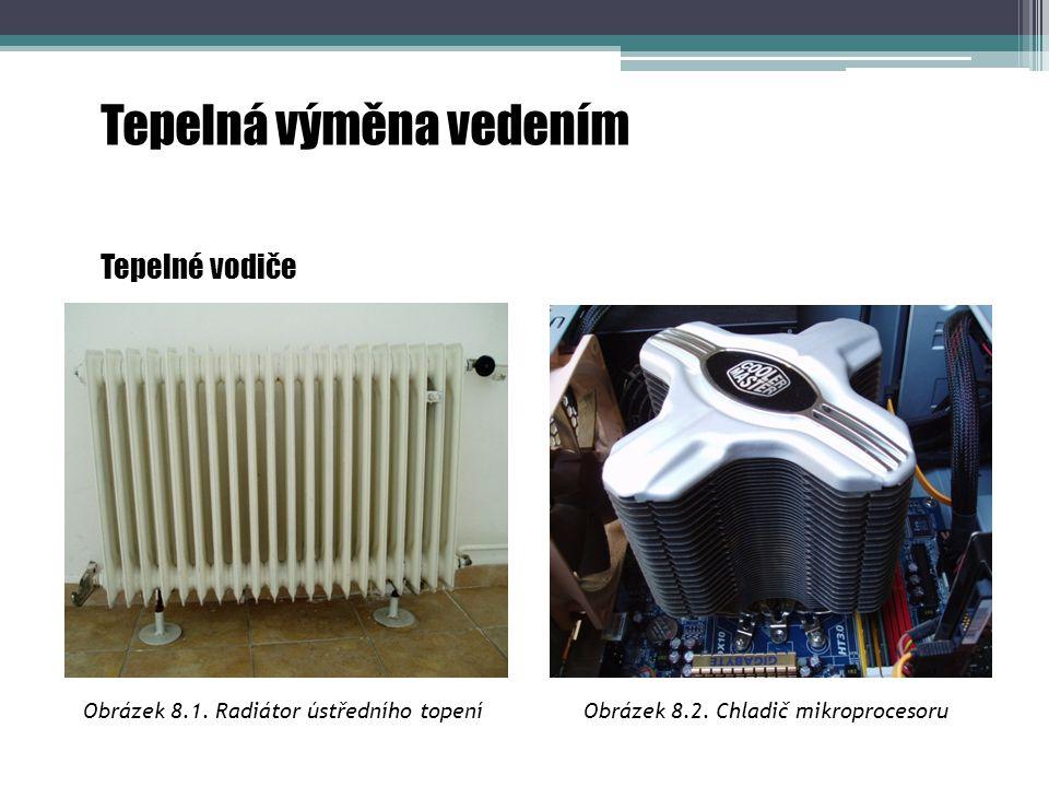 Obrázek 8.1.Radiátor ústředního topení Tepelná výměna vedením Tepelné vodiče Obrázek 8.2.