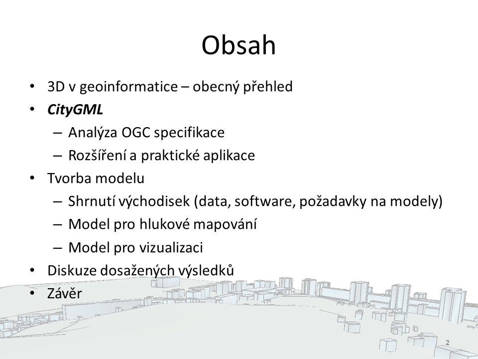 Obsah 3D v geoinformatice – obecný přehled CityGML – Analýza OGC specifikace – Rozšíření a praktické aplikace Tvorba modelu – Shrnutí východisek (data, software, požadavky na modely) – Model pro hlukové mapování – Model pro vizualizaci Diskuze dosažených výsledků Závěr 2