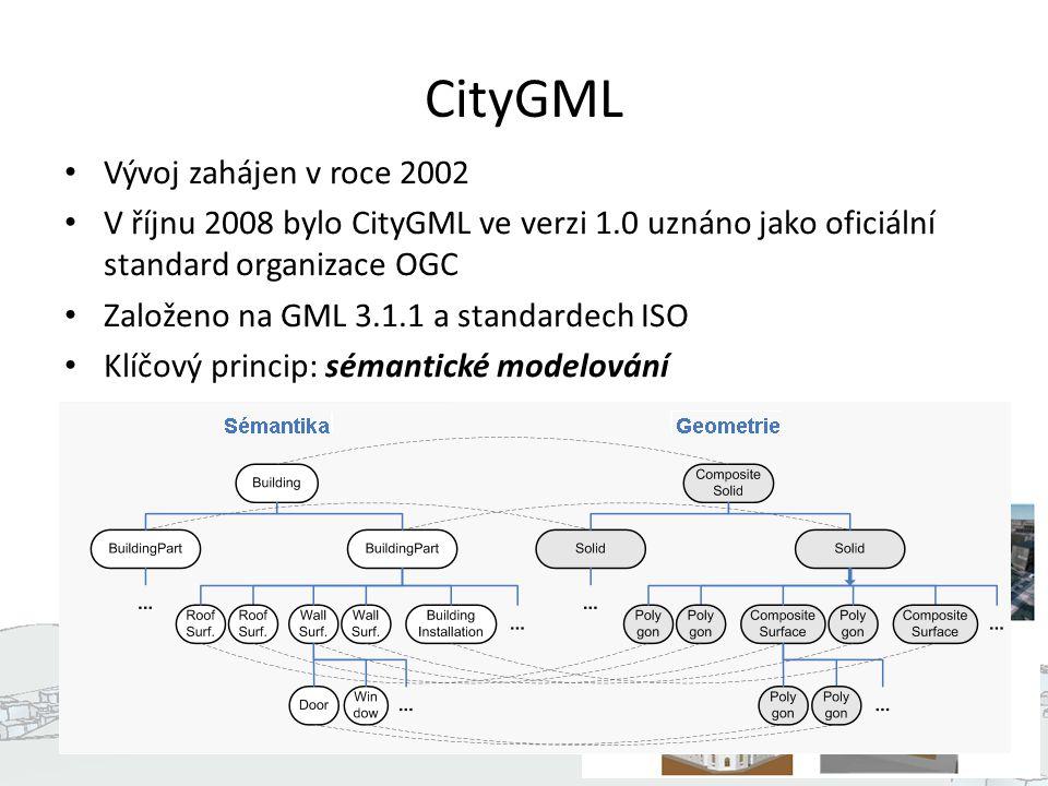 CityGML Tematický model: – Terén (GRID, TIN, zlomy) – Budovy – Dopravní objekty – CityFurniture (světla, semafory, …) – Hydrografie – Vegetace – LandUse 5