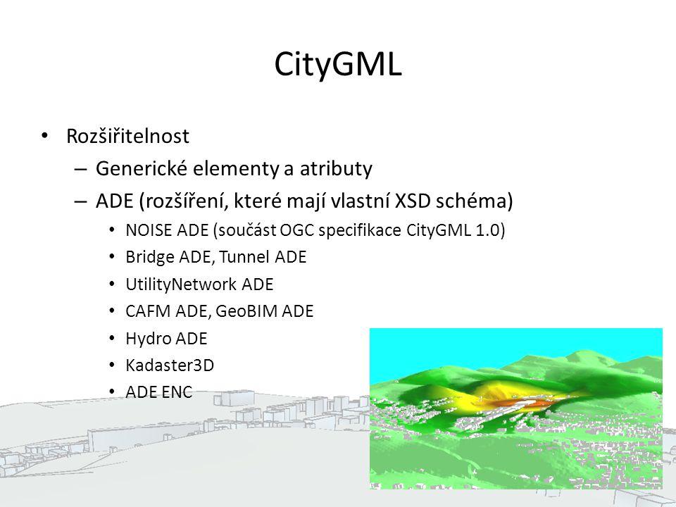 CityGML Rozšiřitelnost – Generické elementy a atributy – ADE (rozšíření, které mají vlastní XSD schéma) NOISE ADE (součást OGC specifikace CityGML 1.0) Bridge ADE, Tunnel ADE UtilityNetwork ADE CAFM ADE, GeoBIM ADE Hydro ADE Kadaster3D ADE ENC 6