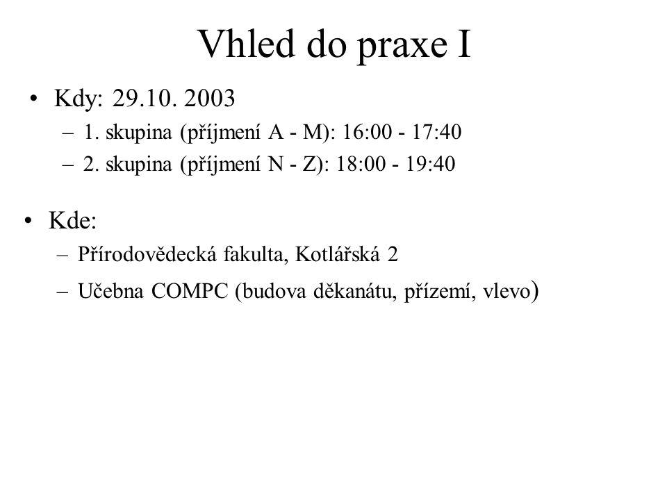 Vhled do praxe I Kdy: 29.10. 2003 –1. skupina (příjmení A - M): 16:00 - 17:40 –2. skupina (příjmení N - Z): 18:00 - 19:40 Kde: –Přírodovědecká fakulta