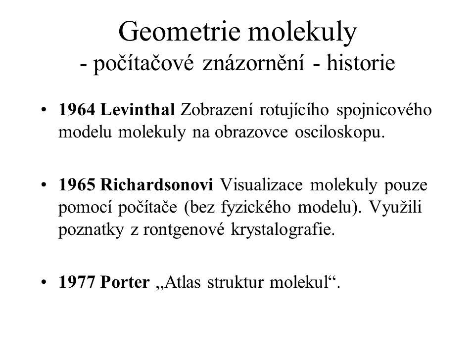 Geometrie molekuly - počítačové znázornění - historie 1964 Levinthal Zobrazení rotujícího spojnicového modelu molekuly na obrazovce osciloskopu. 1965