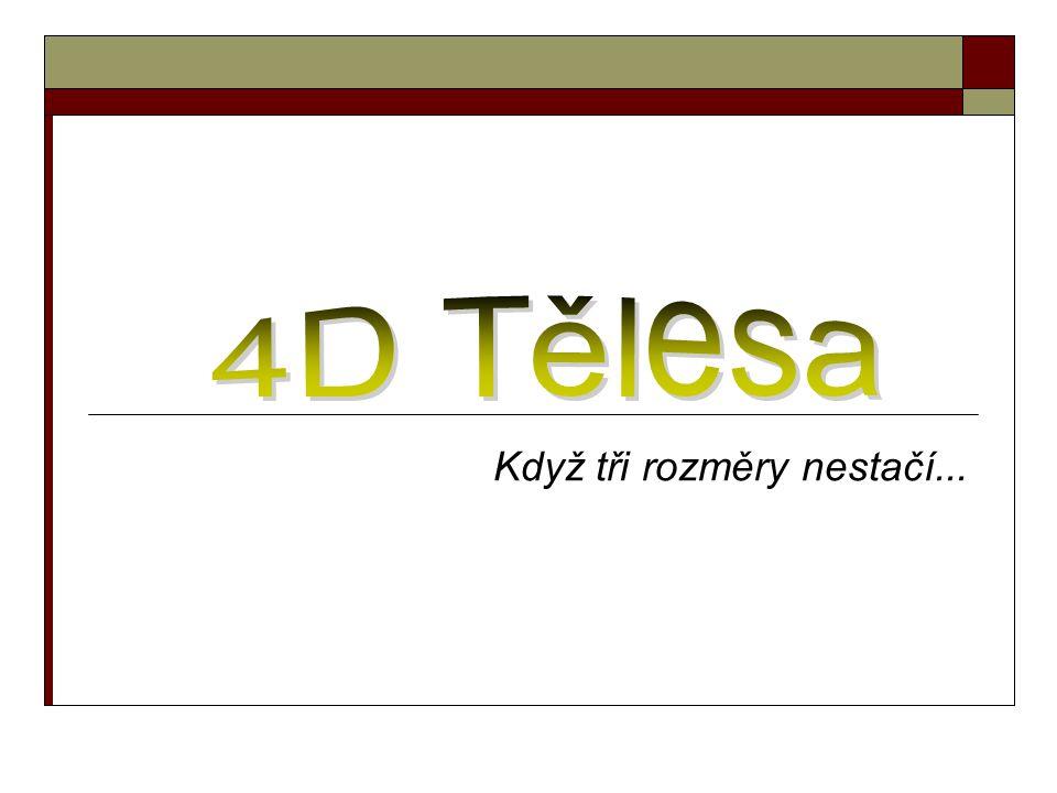 3D svět  Reálný svět je z pohledu lidského oka omezen třemi prostory  Matematika coby obecná věda takové omezení nezná (běžně se setkáváme s pojmy n-rozměrný vektor, n- rozměrný prostor)