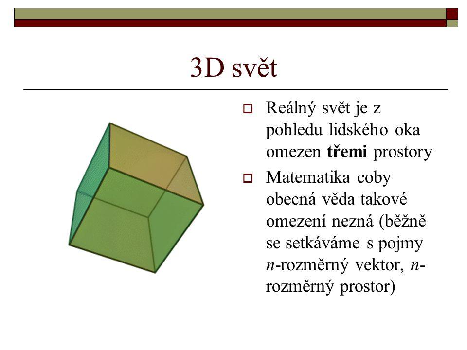 3D svět  Reálný svět je z pohledu lidského oka omezen třemi prostory  Matematika coby obecná věda takové omezení nezná (běžně se setkáváme s pojmy n