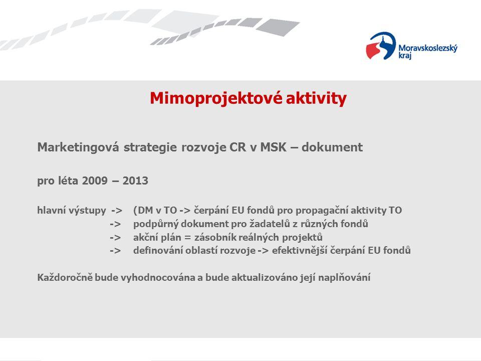 Název prezentace Mimoprojektové aktivity Marketingová strategie rozvoje CR v MSK – dokument pro léta 2009 – 2013 hlavní výstupy ->(DM v TO -> čerpání EU fondů pro propagační aktivity TO -> podpůrný dokument pro žadatelů z různých fondů ->akční plán = zásobník reálných projektů ->definování oblastí rozvoje -> efektivnější čerpání EU fondů Každoročně bude vyhodnocována a bude aktualizováno její naplňování