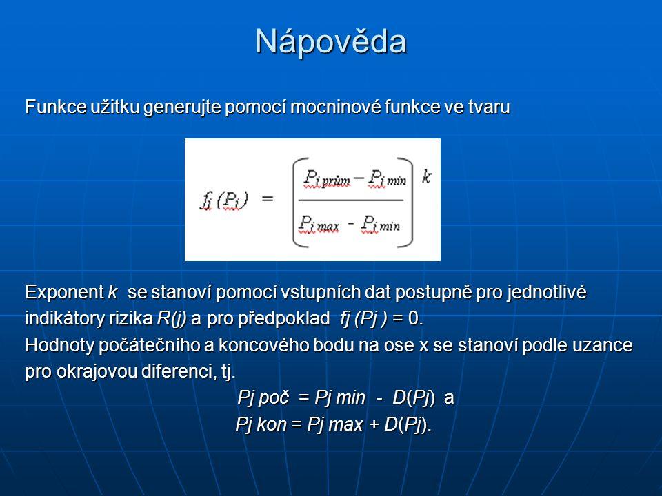 Nápověda Funkce užitku generujte pomocí mocninové funkce ve tvaru Exponent k se stanoví pomocí vstupních dat postupně pro jednotlivé indikátory rizika R(j) a pro předpoklad fj (Pj ) = 0.