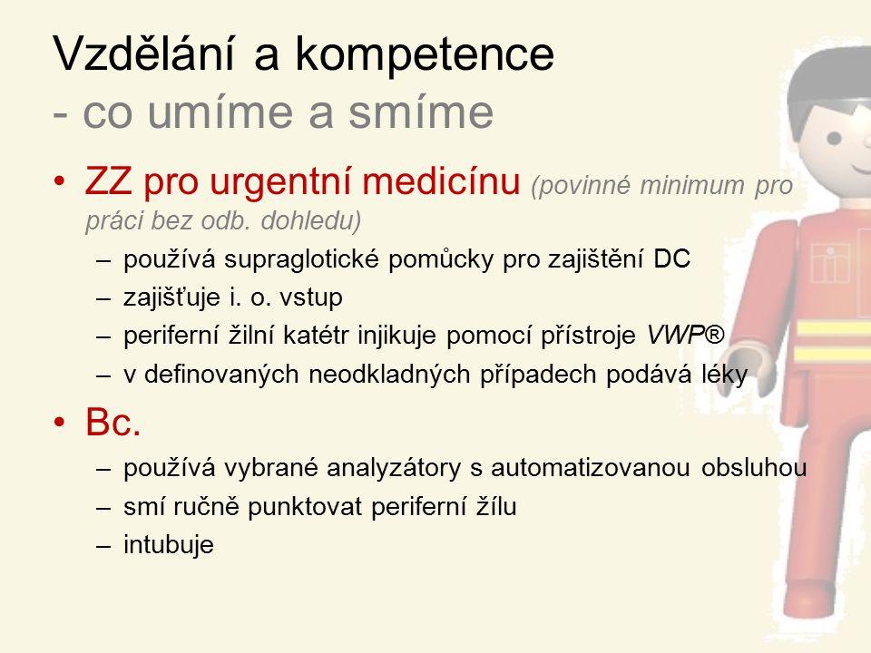 Vzdělání a kompetence - co umíme a smíme ZZ pro urgentní medicínu (povinné minimum pro práci bez odb. dohledu) –používá supraglotické pomůcky pro zaji