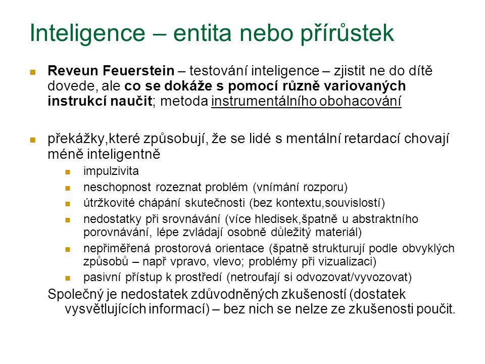 Inteligence – entita nebo přírůstek Reveun Feuerstein – testování inteligence – zjistit ne do dítě dovede, ale co se dokáže s pomocí různě variovaných