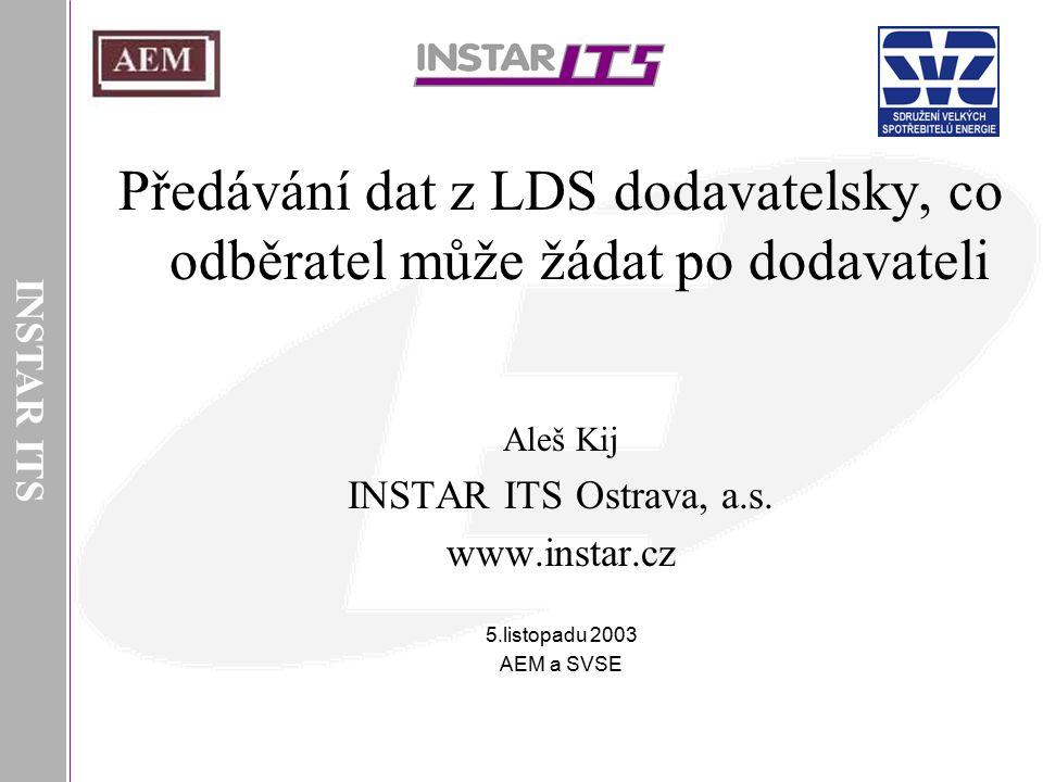 INSTAR ITS Předávání dat z LDS dodavatelsky, co odběratel může žádat po dodavateli Aleš Kij INSTAR ITS Ostrava, a.s. www.instar.cz 5.listopadu 2003 AE