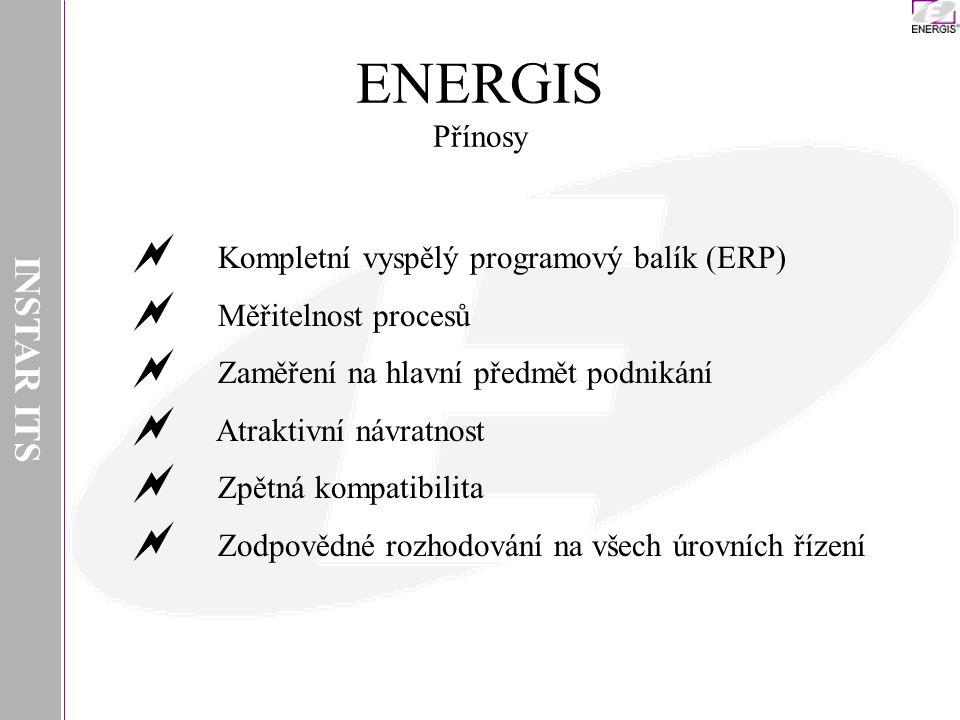 INSTAR ITS ENERGIS Přínosy  Kompletní vyspělý programový balík (ERP)  Měřitelnost procesů  Zaměření na hlavní předmět podnikání  Atraktivní návratnost  Zpětná kompatibilita  Zodpovědné rozhodování na všech úrovních řízení