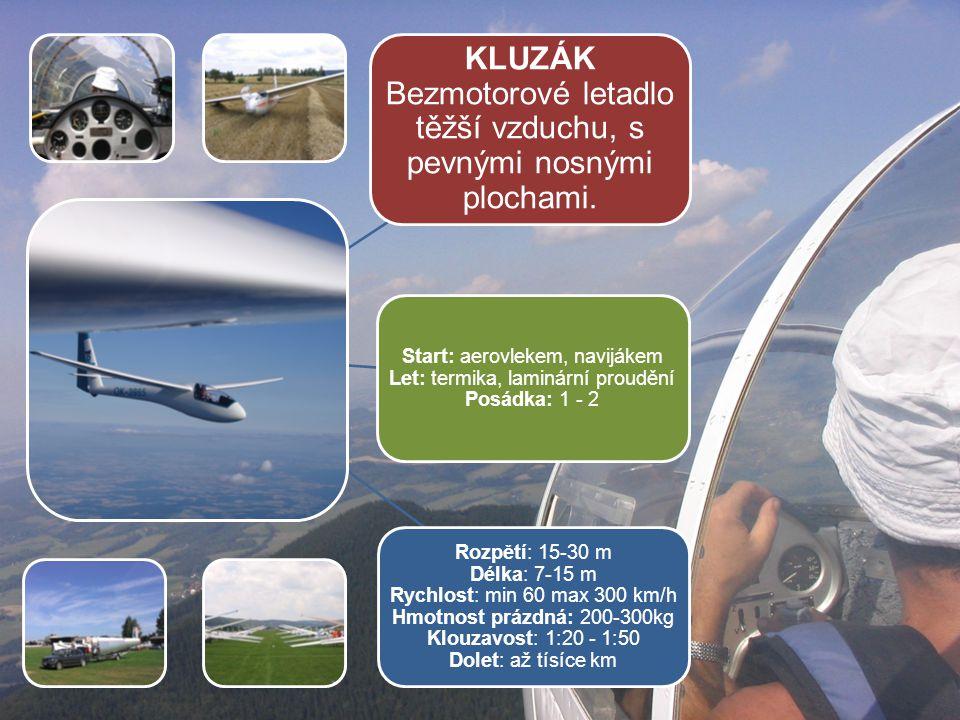 KLUZÁK Bezmotorové letadlo těžší vzduchu, s pevnými nosnými plochami.