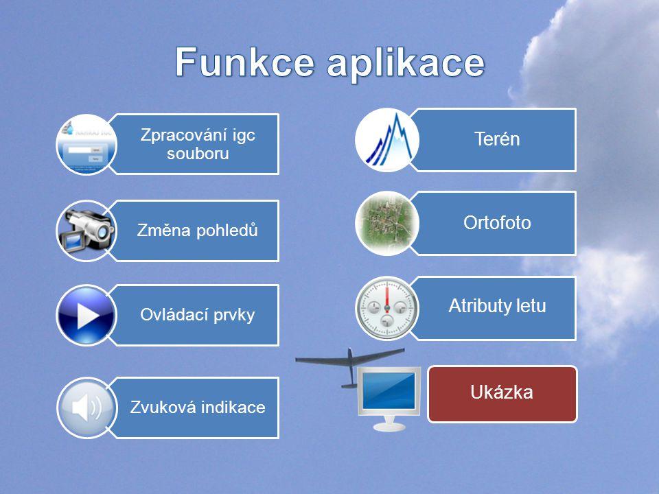 Ukázka Zpracování igc souboru Ovládací prvky Změna pohledů Terén Ortofoto Atributy letu Zvuková indikace