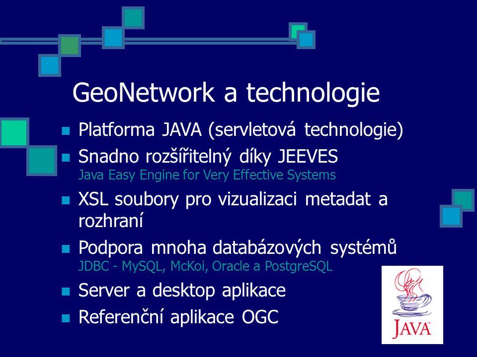 GeoNetwork a technologie Platforma JAVA (servletová technologie) Snadno rozšířitelný díky JEEVES Java Easy Engine for Very Effective Systems XSL soubo