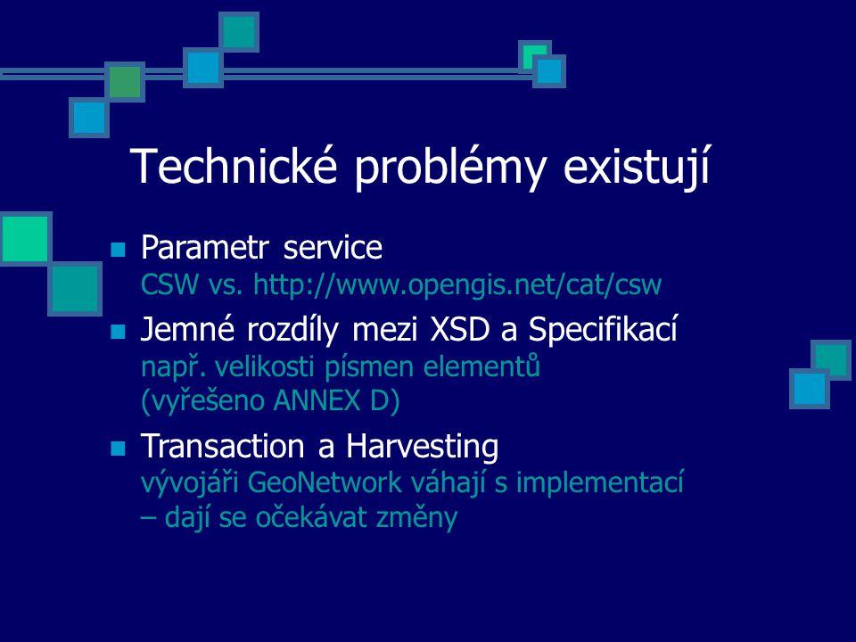 Technické problémy existují Parametr service CSW vs. http://www.opengis.net/cat/csw Jemné rozdíly mezi XSD a Specifikací např. velikosti písmen elemen