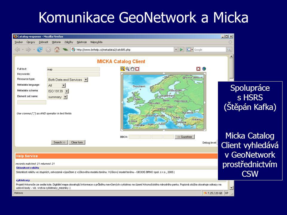 Komunikace GeoNetwork a Micka Spolupráce s HSRS (Štěpán Kafka) Micka Catalog Client vyhledává v GeoNetwork prostřednictvím CSW