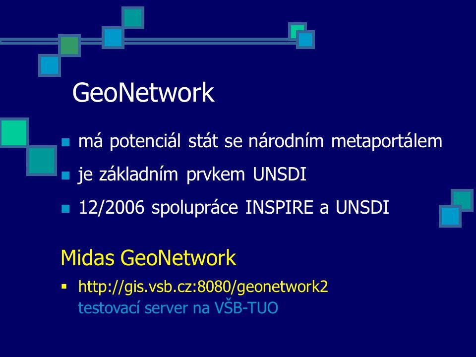 GeoNetwork má potenciál stát se národním metaportálem je základním prvkem UNSDI 12/2006 spolupráce INSPIRE a UNSDI Midas GeoNetwork  http://gis.vsb.c