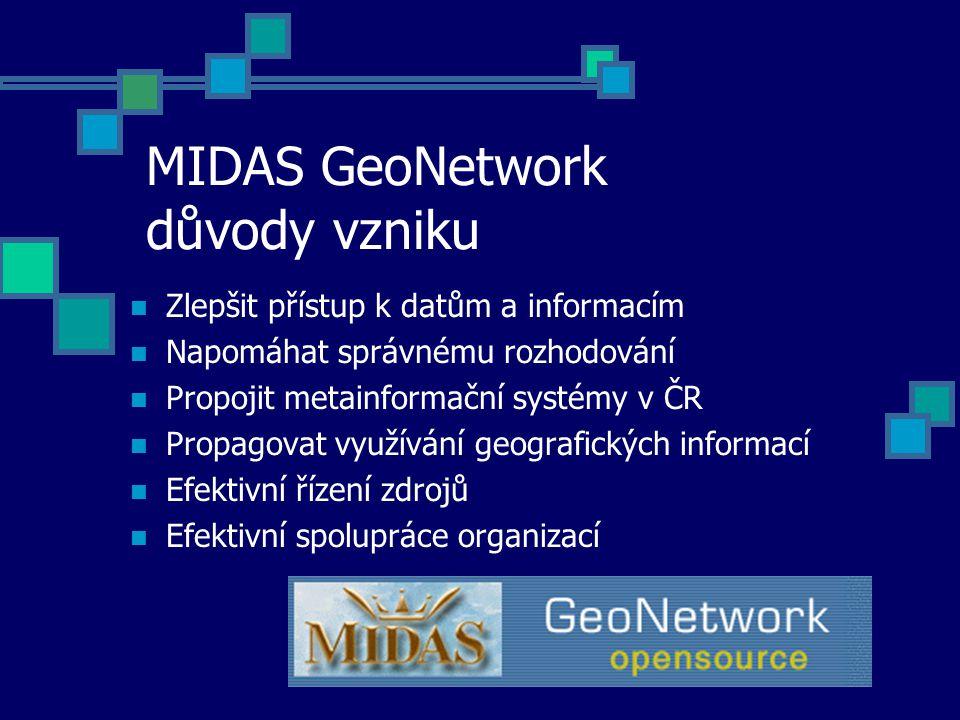 MIDAS GeoNetwork důvody vzniku Zlepšit přístup k datům a informacím Napomáhat správnému rozhodování Propojit metainformační systémy v ČR Propagovat vy