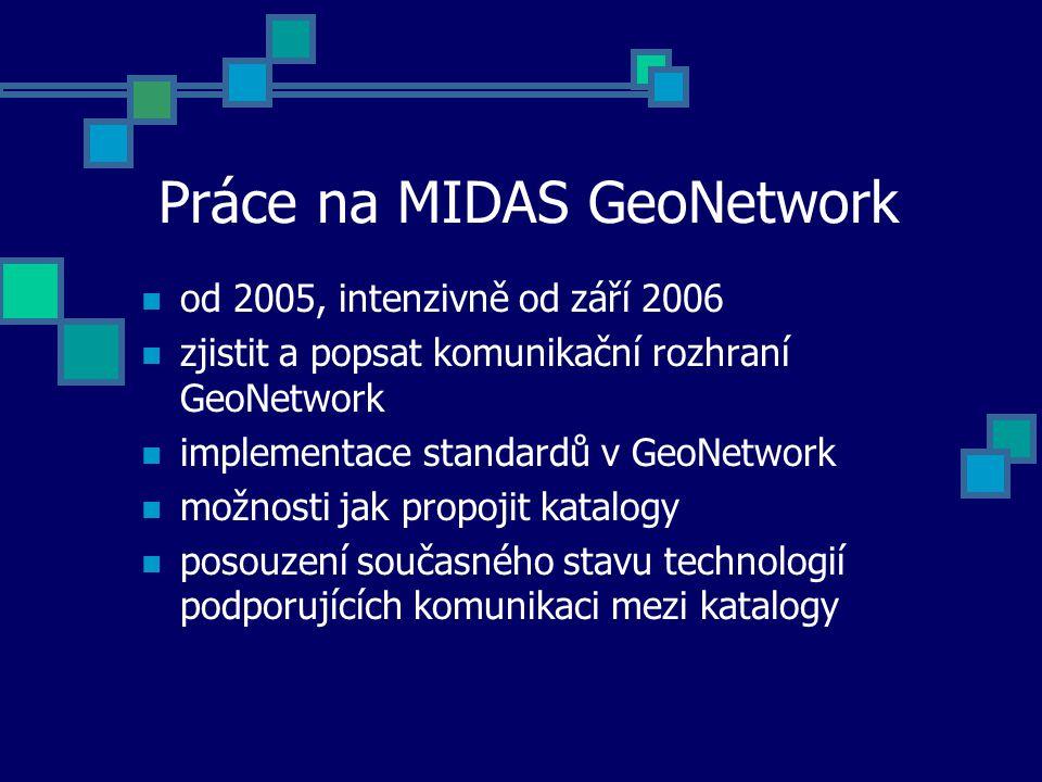Práce na MIDAS GeoNetwork od 2005, intenzivně od září 2006 zjistit a popsat komunikační rozhraní GeoNetwork implementace standardů v GeoNetwork možnos