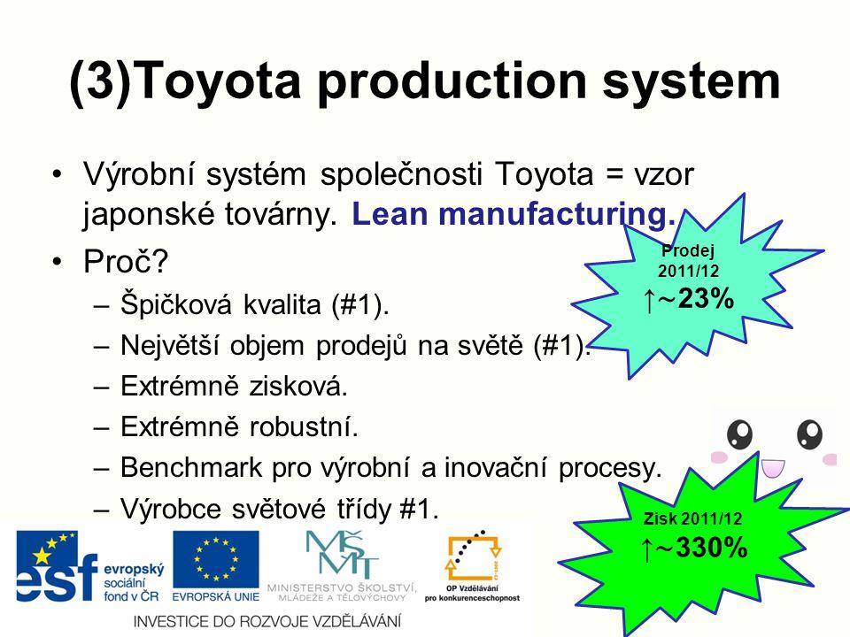 (3)Toyota production system Výrobní systém společnosti Toyota = vzor japonské továrny.