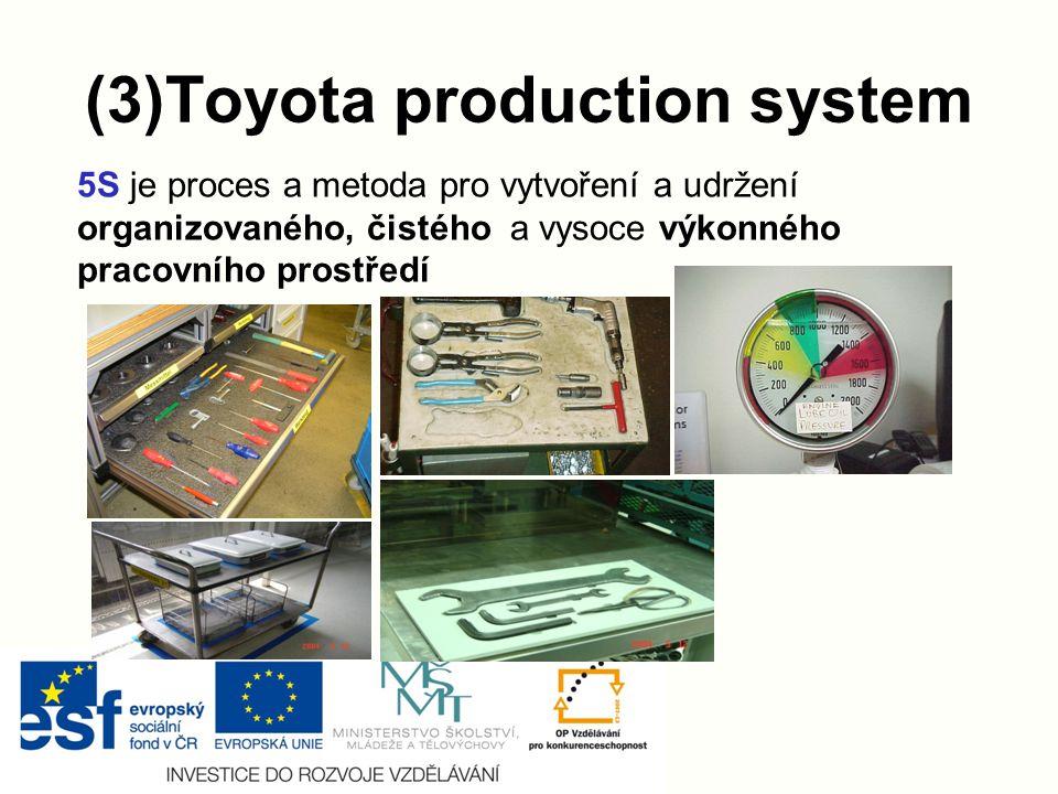 (3)Toyota production system 5S je proces a metoda pro vytvoření a udržení organizovaného, čistého a vysoce výkonného pracovního prostředí