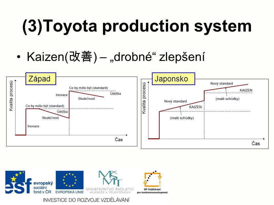 """(3)Toyota production system Kaizen( 改善 ) – """"drobné zlepšení ZápadJaponsko"""