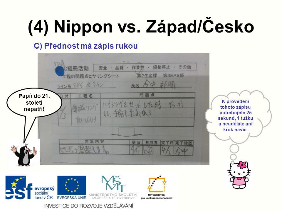 (4) Nippon vs.Západ/Česko C) Přednost má zápis rukou Papír do 21.