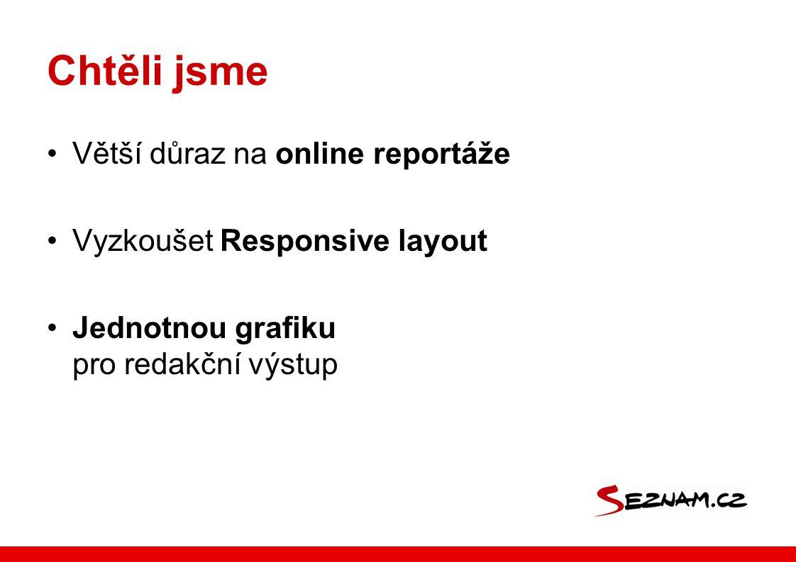 Chtěli jsme Větší důraz na online reportáže Vyzkoušet Responsive layout Jednotnou grafiku pro redakční výstup