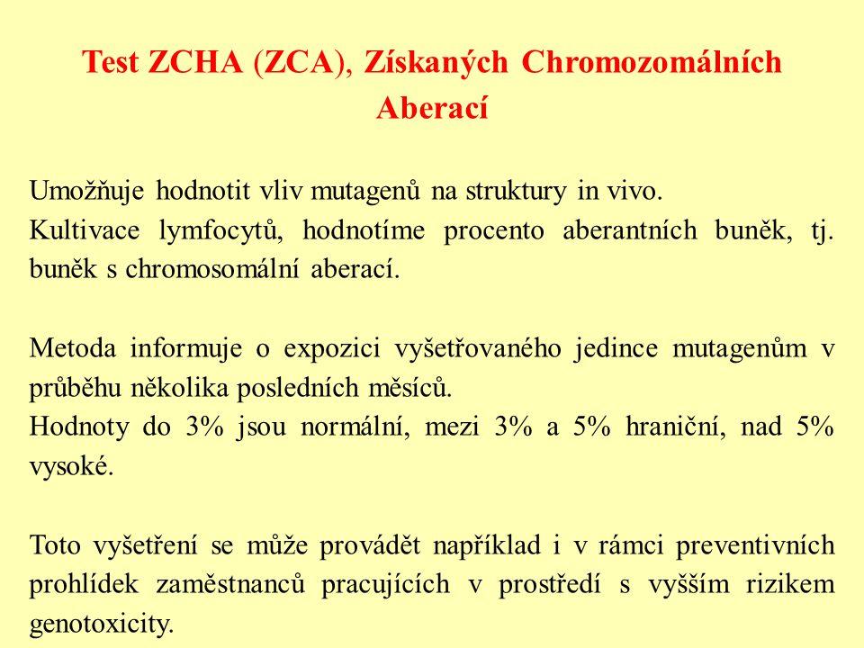 Test ZCHA (ZCA), Získaných Chromozomálních Aberací Umožňuje hodnotit vliv mutagenů na struktury in vivo. Kultivace lymfocytů, hodnotíme procento abera