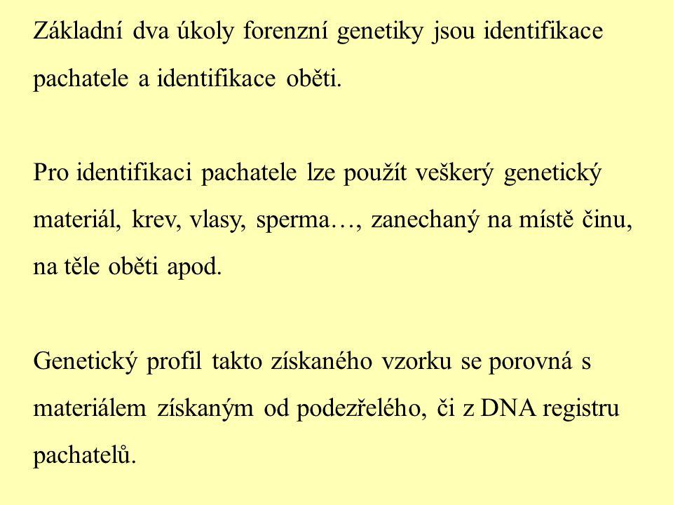 Základní dva úkoly forenzní genetiky jsou identifikace pachatele a identifikace oběti. Pro identifikaci pachatele lze použít veškerý genetický materiá