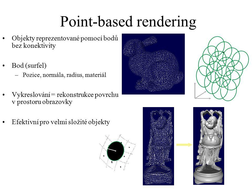 Point-based rendering Objekty reprezentované pomocí bodů bez konektivity Bod (surfel) –Pozice, normála, radius, materiál Vykreslování = rekonstrukce p