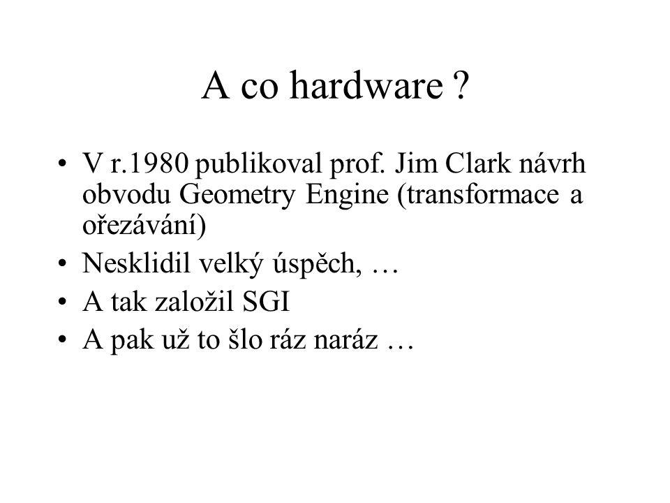 A co hardware ? V r.1980 publikoval prof. Jim Clark návrh obvodu Geometry Engine (transformace a ořezávání) Nesklidil velký úspěch, … A tak založil SG