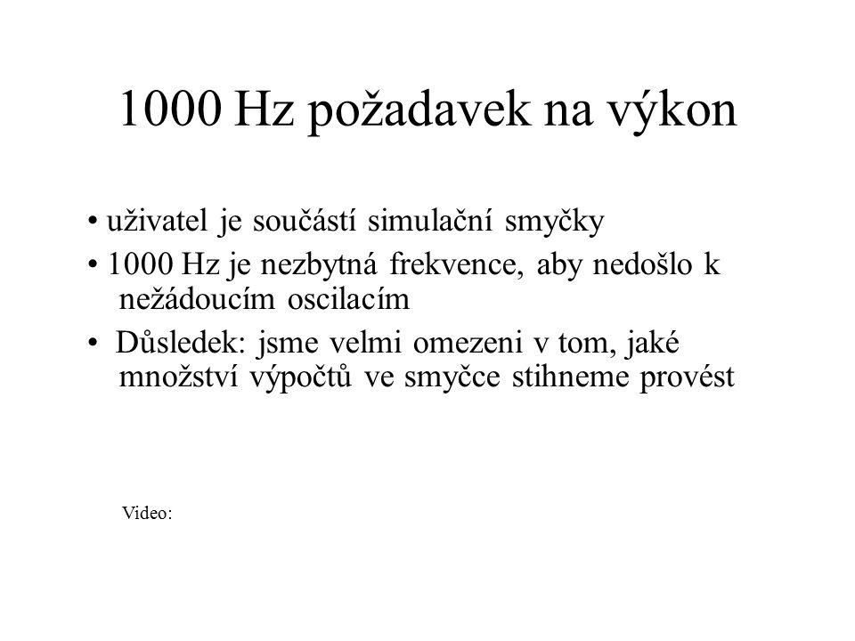 1000 Hz požadavek na výkon uživatel je součástí simulační smyčky 1000 Hz je nezbytná frekvence, aby nedošlo k nežádoucím oscilacím Důsledek: jsme velm