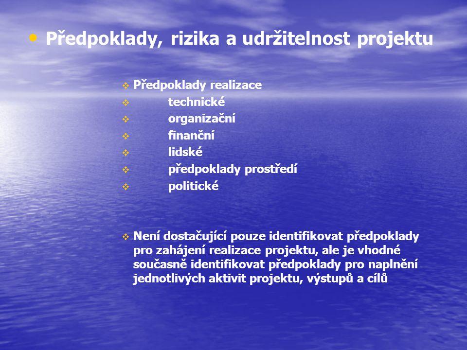 Udržitelnost projektu udržitelnost institucionální – udržitelnost organizace, případně partnerství, které je nositelem projektu udržitelnost finanční – udržitelnost investičních financí k udržitelnosti provozních financí udržitelnost organizační a provozní – prokázání existence lidských zdrojů pro jednotlivé fáze projektu a doprovodné infrastruktury (sítě, komunikace – existuje potenciál, který je bude spravovat SUS, SVAK… apod.)