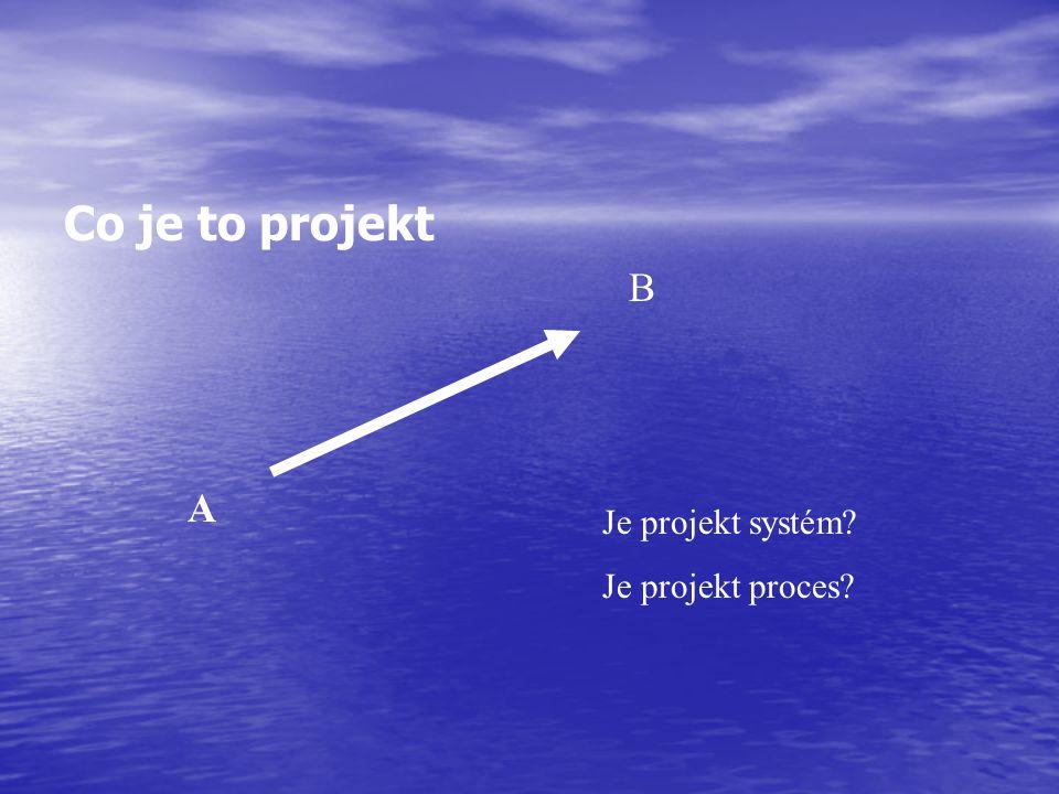 Řízení projektu Projekt – časově a finančně omezený systém aktivit s jednoznačně definovaným celkovým cílem a výstupy Aktivita – soubor realizačních procesů realizovaných s cílem dosažení dílčích cílů a výstupů Řízení – proces vnějšího zásahu do procesu, který udržuje, případně navrací danou/zvolenou metriku (měřitelnou hodnotu výkonnosti) procesu do stanovených mezí Řízení projektu, na základě výše uvedených definic, je tedy proces zásahů do časově a finančně omezeného systému realizačních procesů realizovaných s cílem dosažení dílčích cílů a výstupů, který udržuje, případně navrací dané/zvolené metriky procesů do stanovených mezí, s jednoznačně definovaným celkovým cílem a celkovými výstupy.