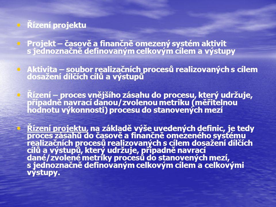 Řízení projektu Projekt – časově a finančně omezený systém aktivit s jednoznačně definovaným celkovým cílem a výstupy Aktivita – soubor realizačních p