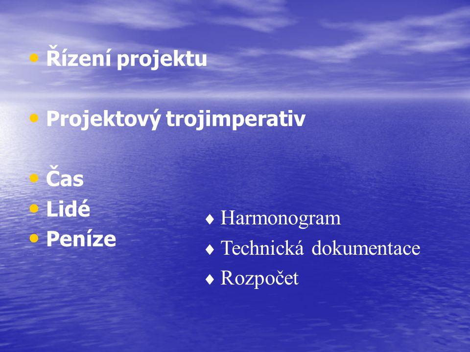 Řízení projektu Projektový trojimperativ Čas Lidé Peníze  Harmonogram  Technická dokumentace  Rozpočet