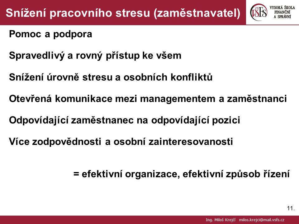 11. Snížení pracovního stresu (zaměstnavatel) Pomoc a podpora Spravedlivý a rovný přístup ke všem Snížení úrovně stresu a osobních konfliktů Otevřená