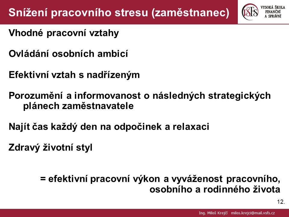 12. Snížení pracovního stresu (zaměstnanec) Vhodné pracovní vztahy Ovládání osobních ambicí Efektivní vztah s nadřízeným Porozumění a informovanost o