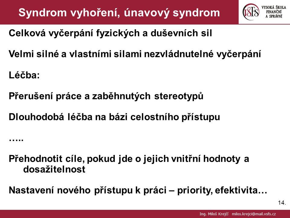 14. Syndrom vyhoření, únavový syndrom Celková vyčerpání fyzických a duševních sil Velmi silné a vlastními silami nezvládnutelné vyčerpání Léčba: Přeru