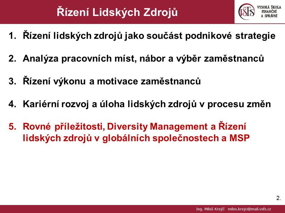 2.2. Řízení Lidských Zdrojů 1.Řízení lidských zdrojů jako součást podnikové strategie 2.Analýza pracovních míst, nábor a výběr zaměstnanců 3.Řízení vý