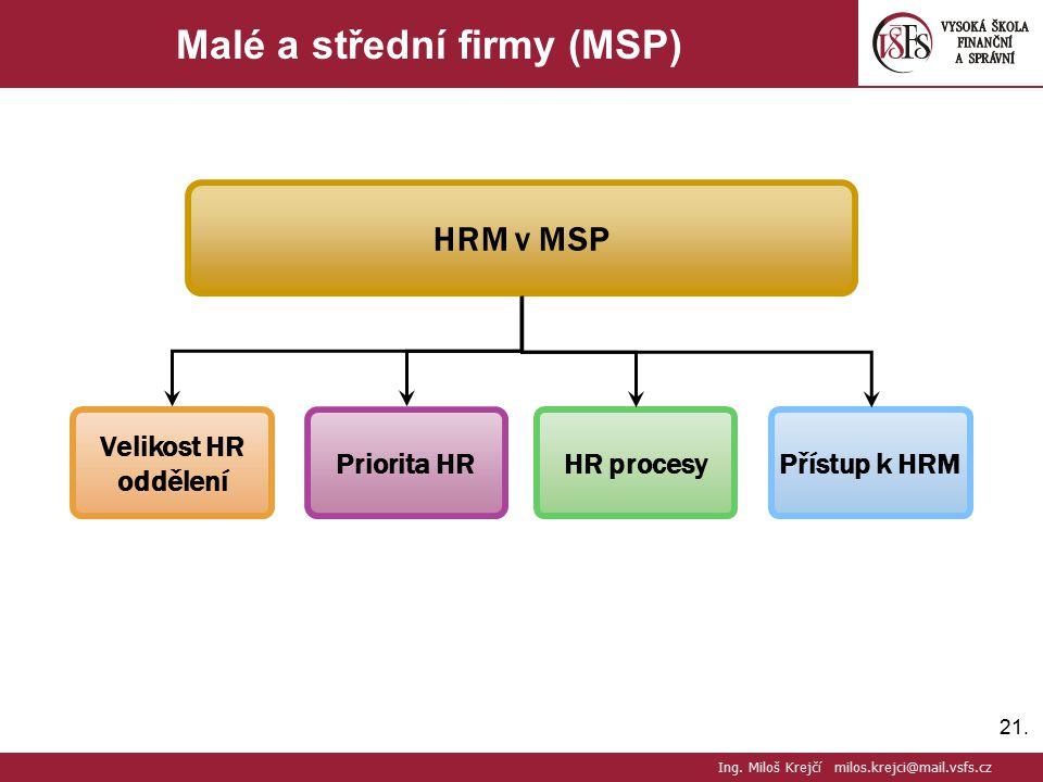21. Malé a střední firmy (MSP) Ing. Miloš Krejčí milos.krejci@mail.vsfs.cz Velikost HR oddělení Priorita HR HR procesy HRM v MSP Přístup k HRM