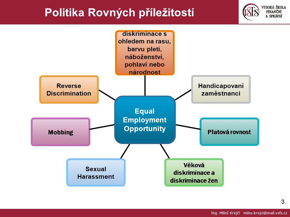3.3. Politika Rovných příležitostí Ing. Miloš Krejčí milos.krejci@mail.vsfs.cz diskriminace s ohledem na rasu, barvu pleti, náboženství, pohlaví nebo