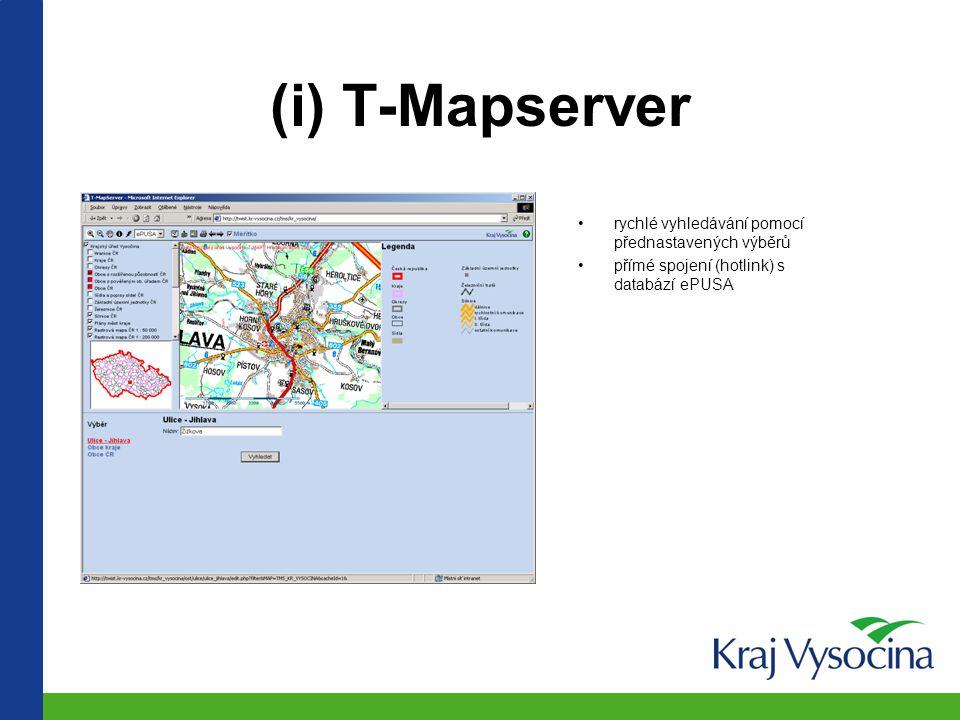 Aplikační architektura GIS na příkladu ePUSA i.rychlé vyhledávání - nelze editovat ii.prohlížení – lze upravit vzhled geodat iii.web map services