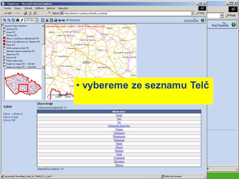 (i) T-Mapserver rychlé vyhledávání pomocí přednastavených výběrů přímé spojení (hotlink) s databází ePUSA