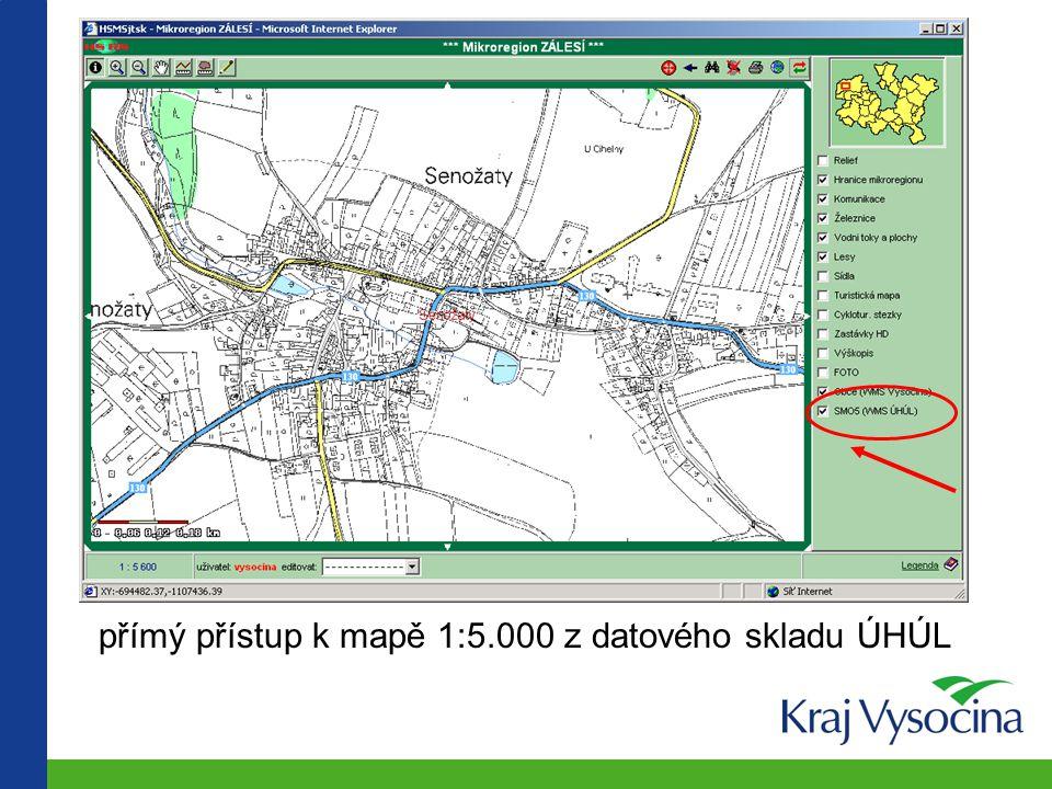 """(iii) Web map services přístup do datového skladu krajského úřadu (grantový projekt """"Nízkorozpočtové pracoviště GIS obce Senožaty"""") přímý přístup do r"""