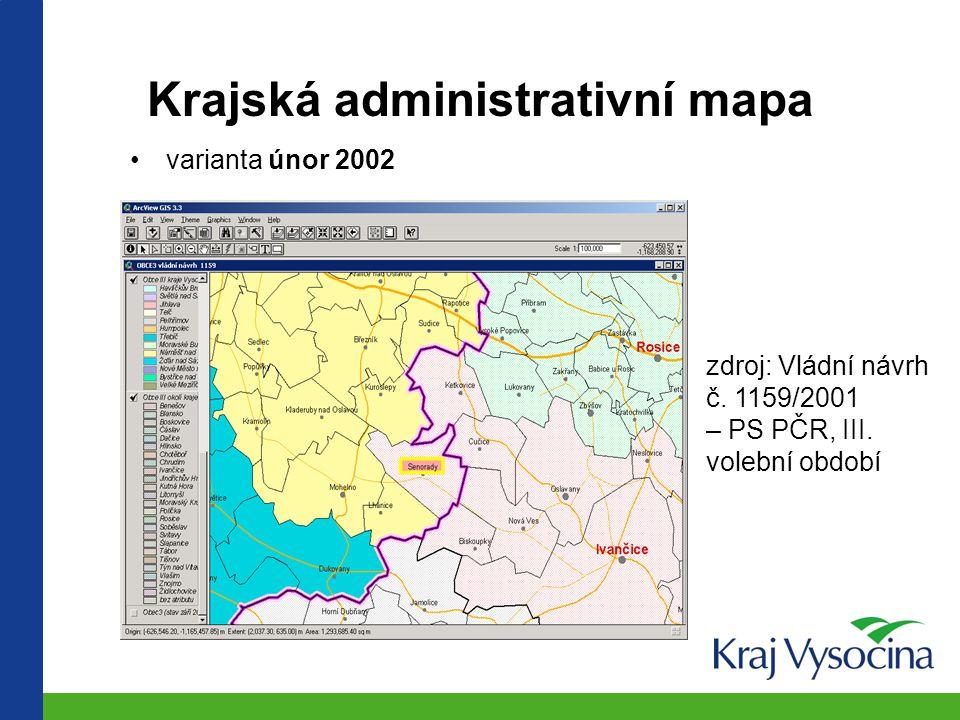 Krajská administrativní mapa varianta září 2001 zdroj: informace MV k reformě VS pro ředitele KrÚ, přednosty OkÚ a starosty navržených ORP