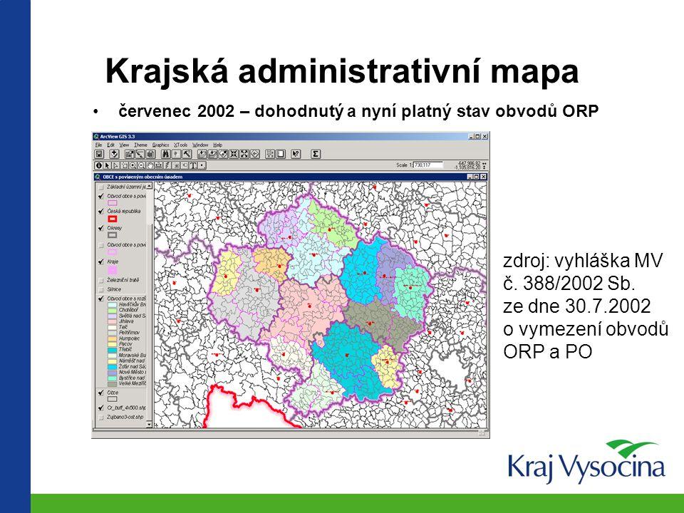 Krajská administrativní mapa varianta únor 2002 zdroj: Vládní návrh č. 1159/2001 – PS PČR, III. volební období